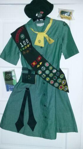 VTG 1960s Complete Girl Scout Uniform-Dress/Beret/Ties/Belt/Socks/Sash w/Badges