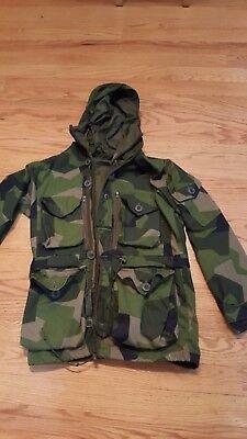 Swedish M90 splinter camouflage camo windproof parka jacket by AKTIS Medium size