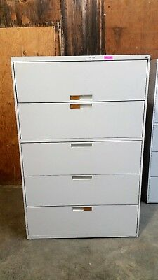 Benston 5 Five Drawer Lateral Legal File Cabinet Working Lock Key Grey 2