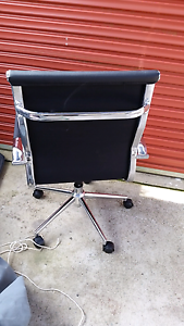 Office chair adjustable  chrome & leather Lakewood Port Macquarie City Preview