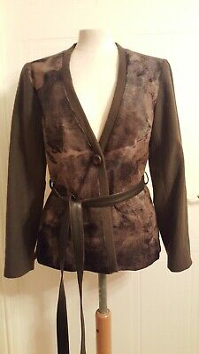 KARL DONOGHUE Wool with leather trim , Jacket UK  10   cost £540
