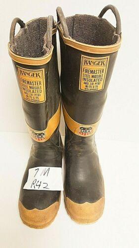 Ranger FireMaster Firefighter Turnout Rubber Boots Steel Toe Size 7 Medium R42
