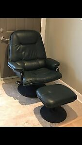 Hunter Green Leather Chair and Ottoman