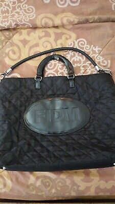 FIDM Black large quilted tote bag with removable straps silver accents](Black Quilted Tote Bag)