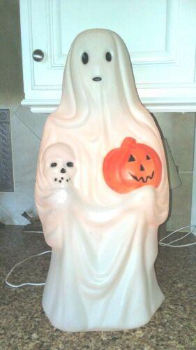 "Vintage 23"" Empire Halloween Ghost Blow Mold Lighted Skull & Pumpkin Yard Decor"