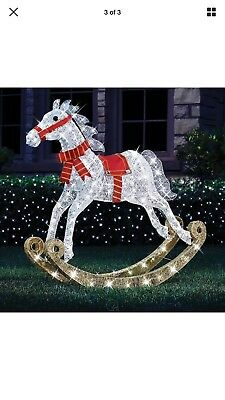 Outdoor Lighted 4' Christmas Rocking Horse Pre Lit Twinking Lawn Yard Decor SALE ()