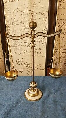 Scales Justice Vintage Lawyer Scale Brass w/ White Inlay Mother of Pearl??