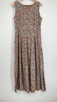 80s Dresses   Casual to Party Dresses Vintage Mixit Jumper Dress Women's Size 12 Black Check Floral 1980s Button Back $29.99 AT vintagedancer.com