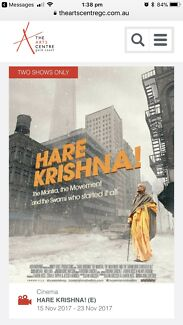 Two tickets to Hare Krishna! Movie on Thursday 23rd November