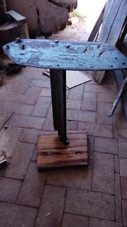 Bespoke rustic industrial side table - Marri slab and steel
