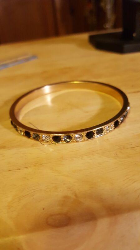 vintage gold tone rhinestone bangle bracelet Liz chairborne