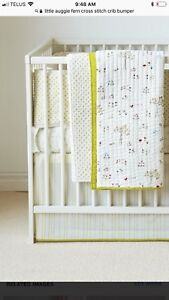 Little Auggie Cross Stitch Crib Bumper in Fern