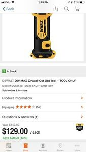 Dewalt 20V Max drywall cut out tool (tool only) $80