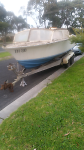 Old boat with twin axel trailer Seaford Frankston Area Preview
