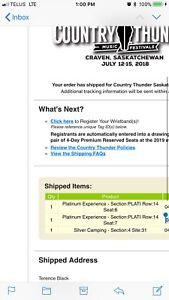 Craven country thunder platinum tickets and camping