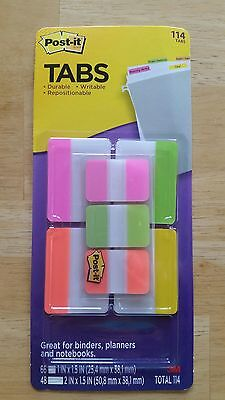 114 3m Post-it Tabs Variety Pack 1 2 Fluorescent Neon Color Binders Planners