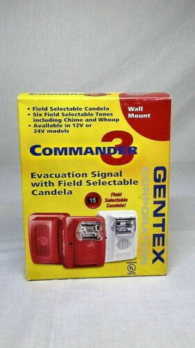 Gentex Wall Mount Evacuation Signal GEC3-24WW Commander 3 Series NEW