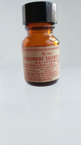 VTG Poison Skull & Crossbones (2) Merck NJ Strychnine Crystals 1/8 oz. 2 inch