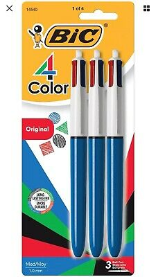 Bic 4-color Ball Pen Medium Point 1.0mm Assorted Ink 3-count