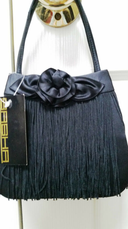 Sasha Evening Bag  ..Elegant Black Satin w/Tassels .. Glamorous..Never Used