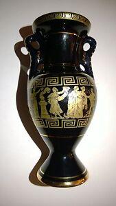 Vintage Decorative Greek Ceramic Vase Hand Made In Greece