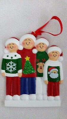 Personalized Family Four 4 Ugly Sweater Christmas Tree Ornament Holiday Gift