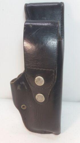 Vintage Black Leather Police Holster Swivel Mount stamped H S