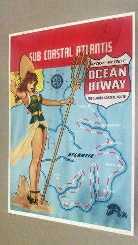SEXY MERA DC COMICS BOMBSHELL HIGHWAY MAP PRINT 12 x 18 #oa-59