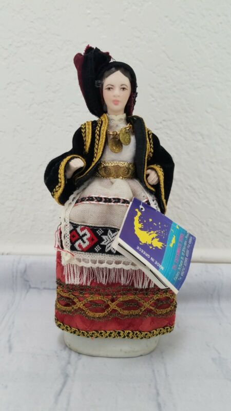 Evelt Greek Doll Figurine in Traditional Outfit With Tag
