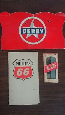 LOT OF 3 Vintage Advertising Sewing Needles Books Derby, Phillips 66, Watson's