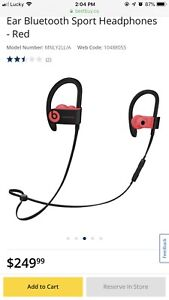 Wireless In-Ear Headphones Dre Beats Black and Red Bluetooth
