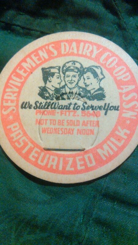 Scarce SERVICEMENS DAIRY CO-OP ASSN MILK BOTTLE CAP Unused Nice