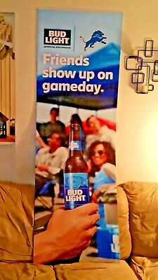 bud light detroit lions cardboard stand-up and nfl  banner...free shipping (Lion Cardboard Stand)