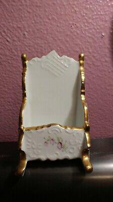 Vintage Hand Painted Porcelain Business Card Holder - Gold Trim