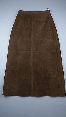 Brandon Thomas Womens Skirt Size 4P 100% Leather Brown Long Lined Flared A-Line