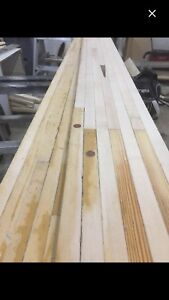 Hard maple bowling alley slabs