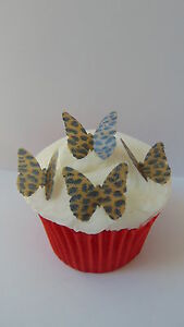 48 precut butterfly leopard print edible paper toppers for Animal print edible cake decoration