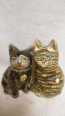 Cat Figurines 1 Vintage Metal Cloisonne 1 Whimsical Composite