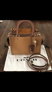 New Coach Rogue 25 in mixed leathers Bamboo & Luggage bowm