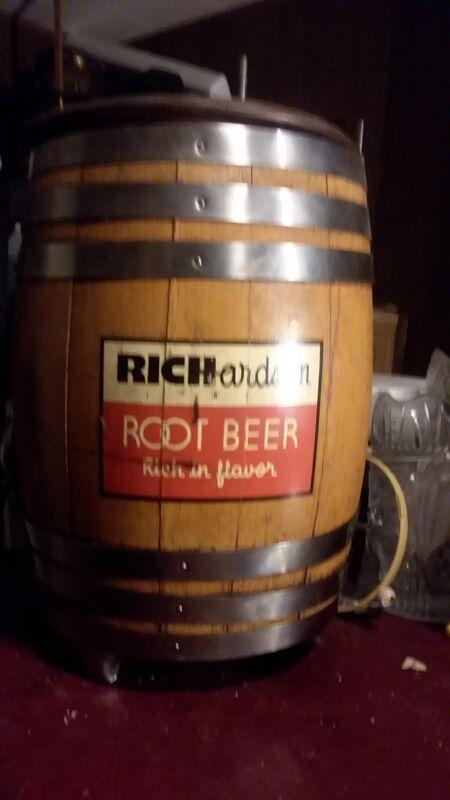 Vintage RICHARDSON ROOT BEER Wood Barrel w/Multiplex Faucet St. Louis Dispenser