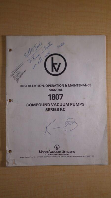 Kinney Vacuum Company 1807 Compound Vacuum Pumps Manual 8F B4