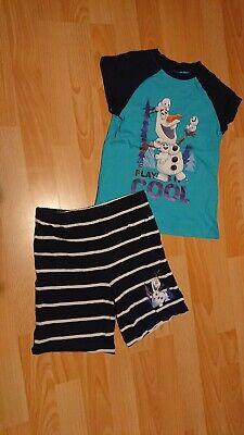 Shorty Pyjama Schlafanzug Jungen Gr. 110 116 Disney Eiskönigin Olaf
