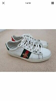 GUCCI ACE BEE ENBROIDERED WHITE Unisex TRAINERS SIZE EU 36 UK 4 100% authentic