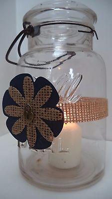 10 Rustic Blue Gold Heart Mason Jar Candle Centerpiece Wedding Decorations FE4