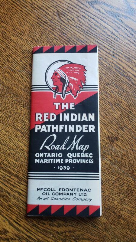 RARE 1939 RED INDIAN MOTOR OIL & MARATHON GASOLINE CANADA ROAD MAP