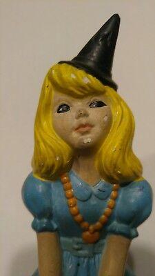 Vintage Atlantic Mold Halloween Girl Sitting on Pumpkin Blue Dress & Witches Hat