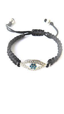 Jewish Evil Eye flower theme macrame bracelet with adjustable rope, 2019 design