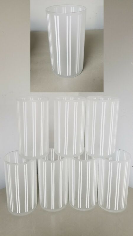 set 8 VINTAGE? WHITE STRIPED FROSTED GLASSES~TUMBLERS-ICED TEA,HIGHBALL BAR,16OU