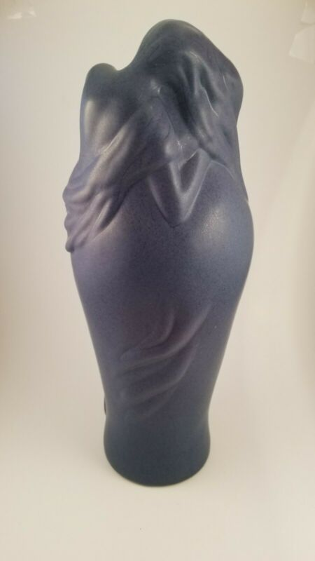 "Van Briggle Lorelei vase in blue & lilac 11""tall: mid 80"