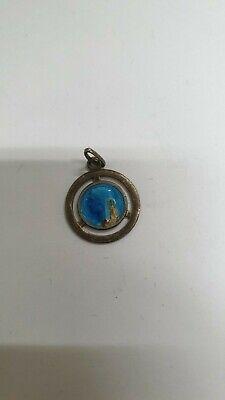 Pendant Medal Religious Solid Silver Virgin Marie Enamelled REF47191